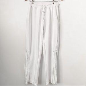 Adidas 3 Strip White Wide Leg Track Pants